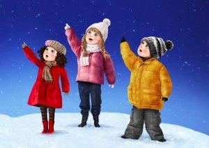 illustration-realiste-enfants-vetement-hiver-neige