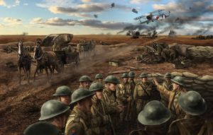 Illustration-realiste-soldats-guerre-avion-chevaux