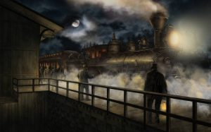 Illustration-realiste-train-personnages-nuit-lune