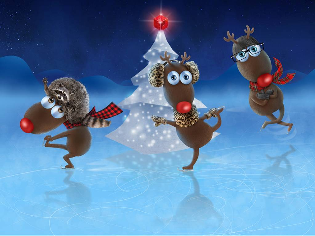 carte-noel-winter-renne-reindeer-3d-hiver-patin