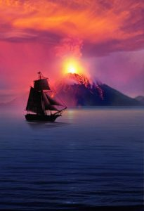 illustration-bateau-ship-volcan-mer-sea-sunset