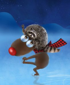 illustration-caribou-reindeer-3d-patin-raton-laveur-raccoon