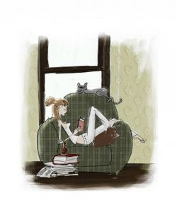illustration-fille-lecture-livre-appartement-chat